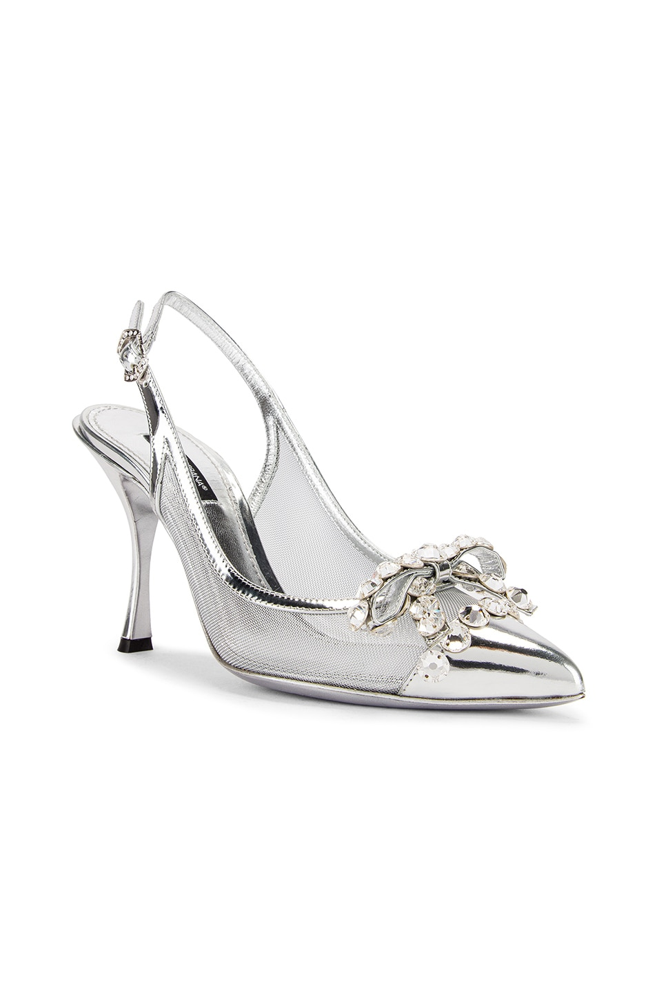 Image 2 of Dolce & Gabbana Bow Slingback Heels in Silver