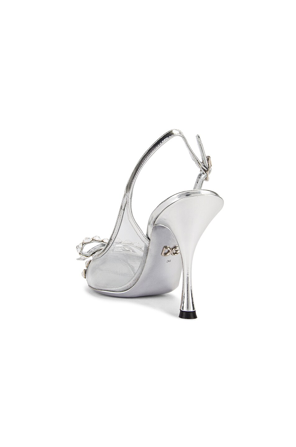 Image 3 of Dolce & Gabbana Bow Slingback Heels in Silver