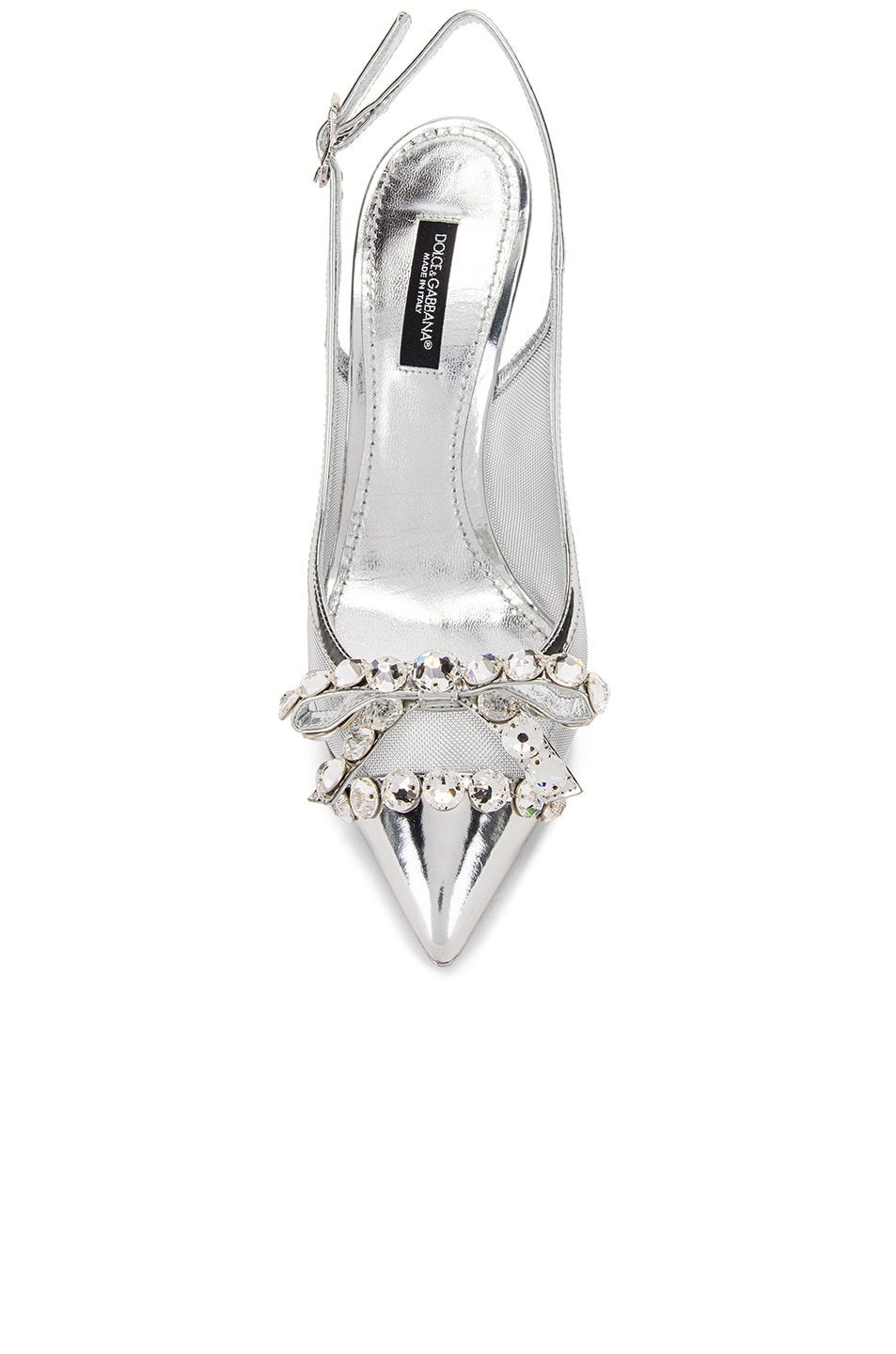 Image 4 of Dolce & Gabbana Bow Slingback Heels in Silver