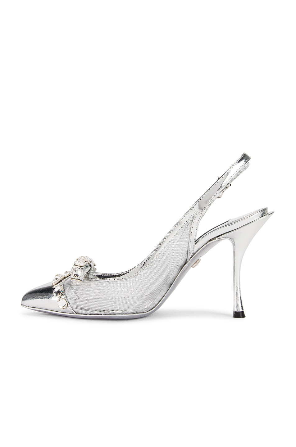 Image 5 of Dolce & Gabbana Bow Slingback Heels in Silver