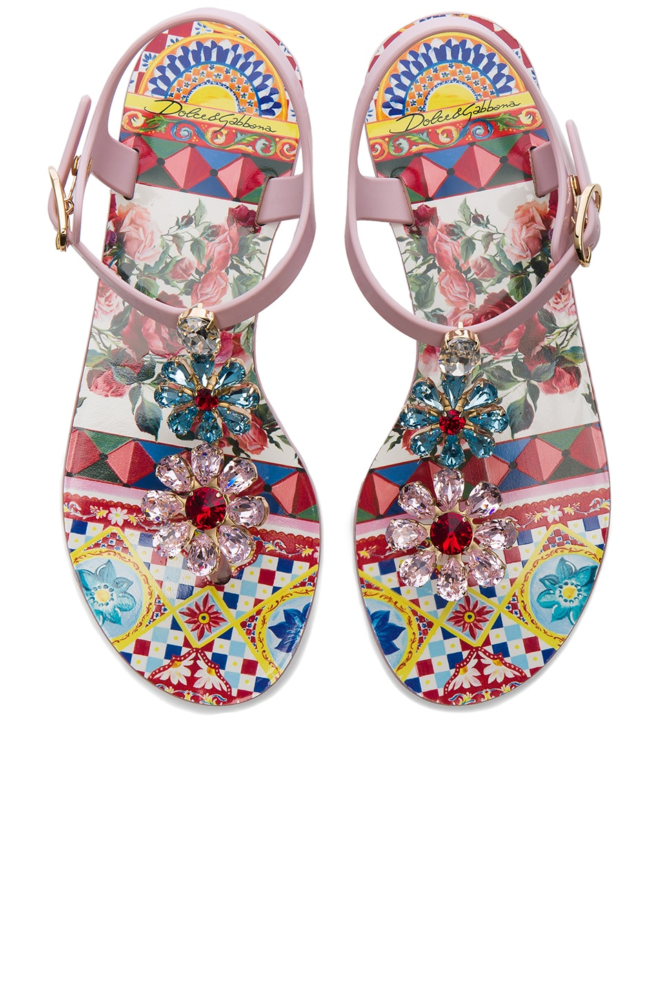Image 1 of Dolce & Gabbana Flower Jewel Jelly Sandals in Light Pink