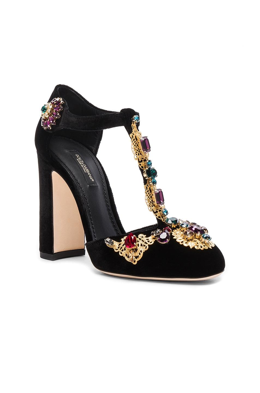 Image 2 of Dolce & Gabbana Jewel Embellished Velvet T Strap Heels in Black