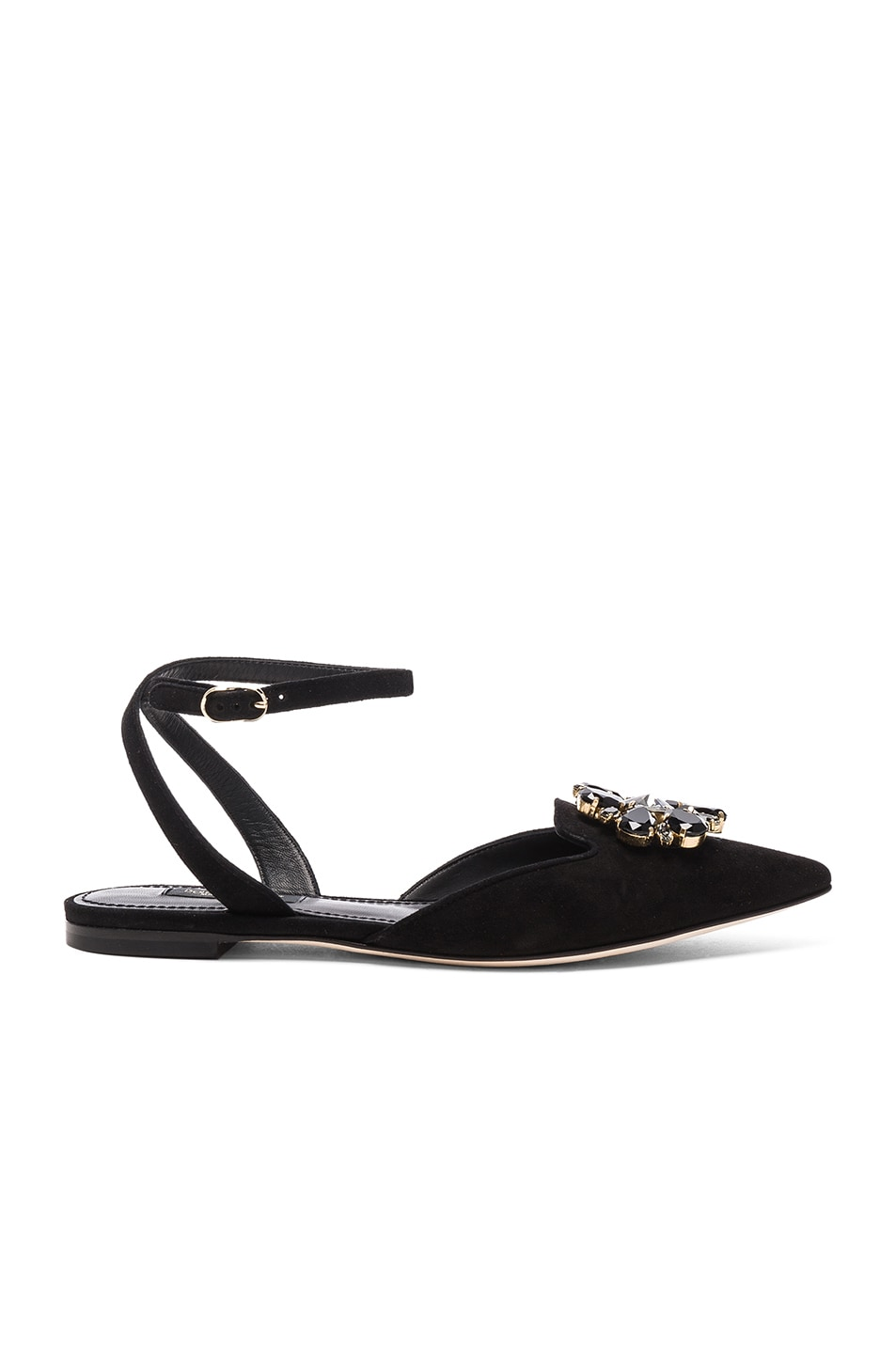 Image 1 of Dolce & Gabbana Suede Belucci Flats in Black