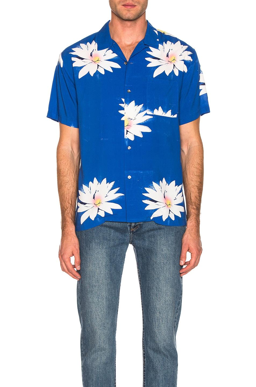 Image 2 of DOUBLE RAINBOUU Glossy Possy Print Shirt in Sea Blue
