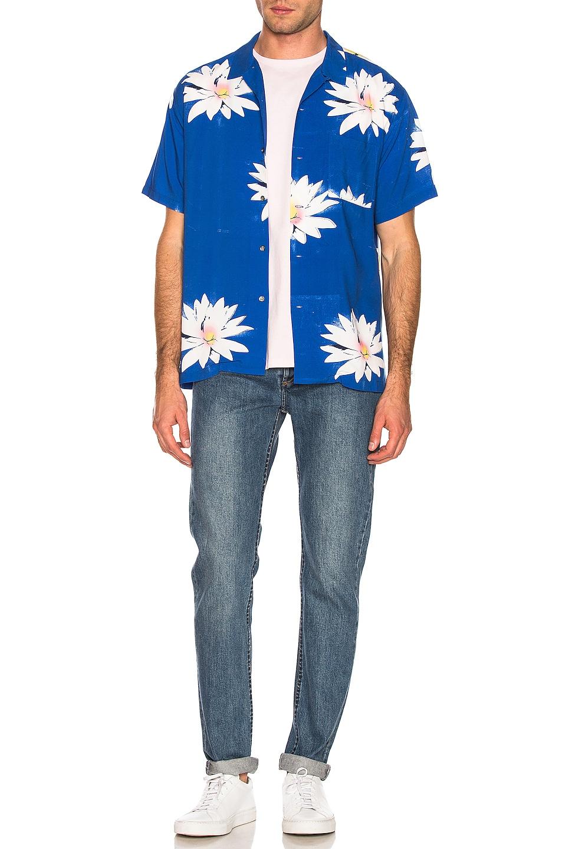 Image 5 of DOUBLE RAINBOUU Glossy Possy Print Shirt in Sea Blue