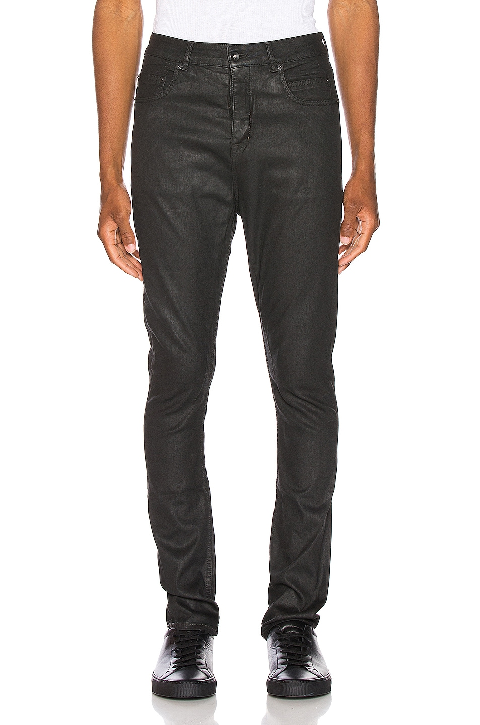 Image 1 of DRKSHDW by Rick Owens Detroit Cut Jean in Black Wax