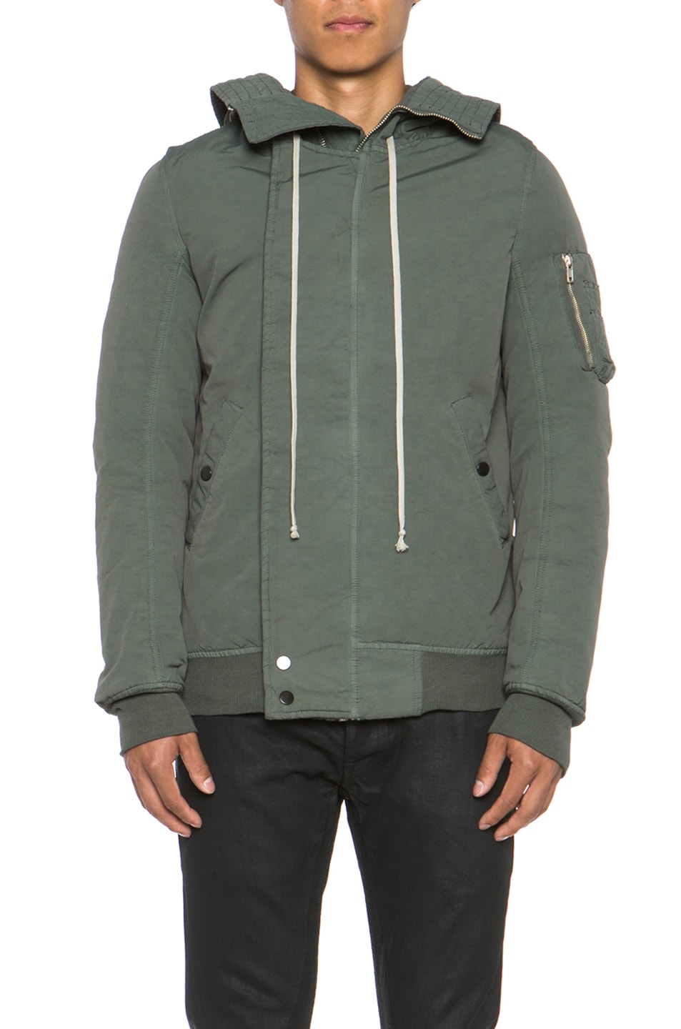 0a8bc1189 DRKSHDW by Rick Owens Murray Cotton Hooded Bomber in Jade ...