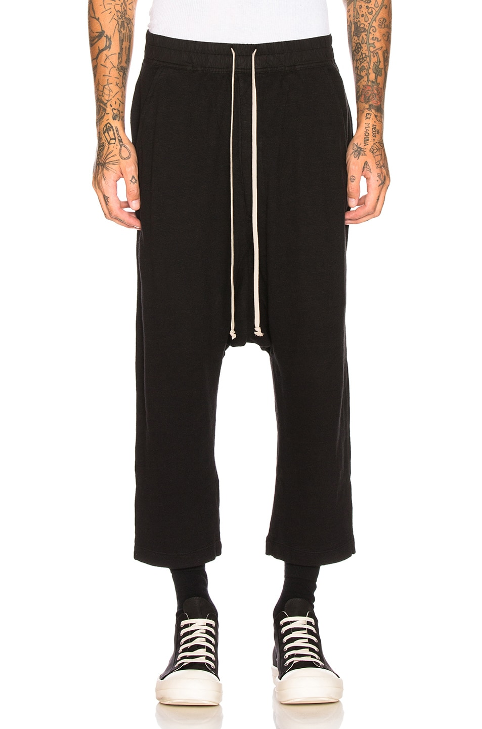Image 1 of DRKSHDW by Rick Owens Drawstring Cropped Trouser in Black