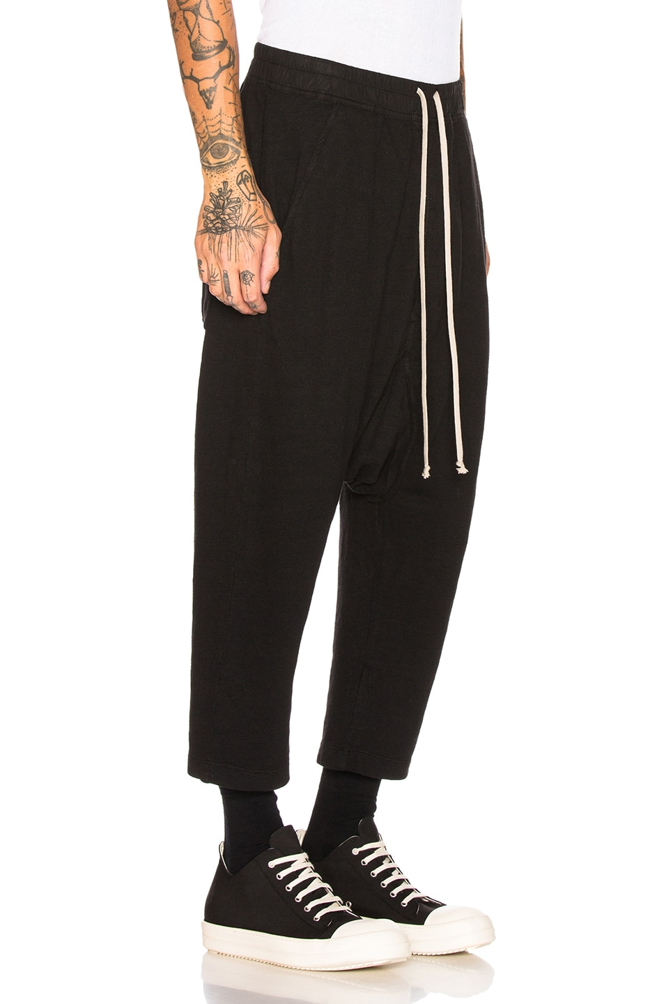 Image 2 of DRKSHDW by Rick Owens Drawstring Cropped Trouser in Black