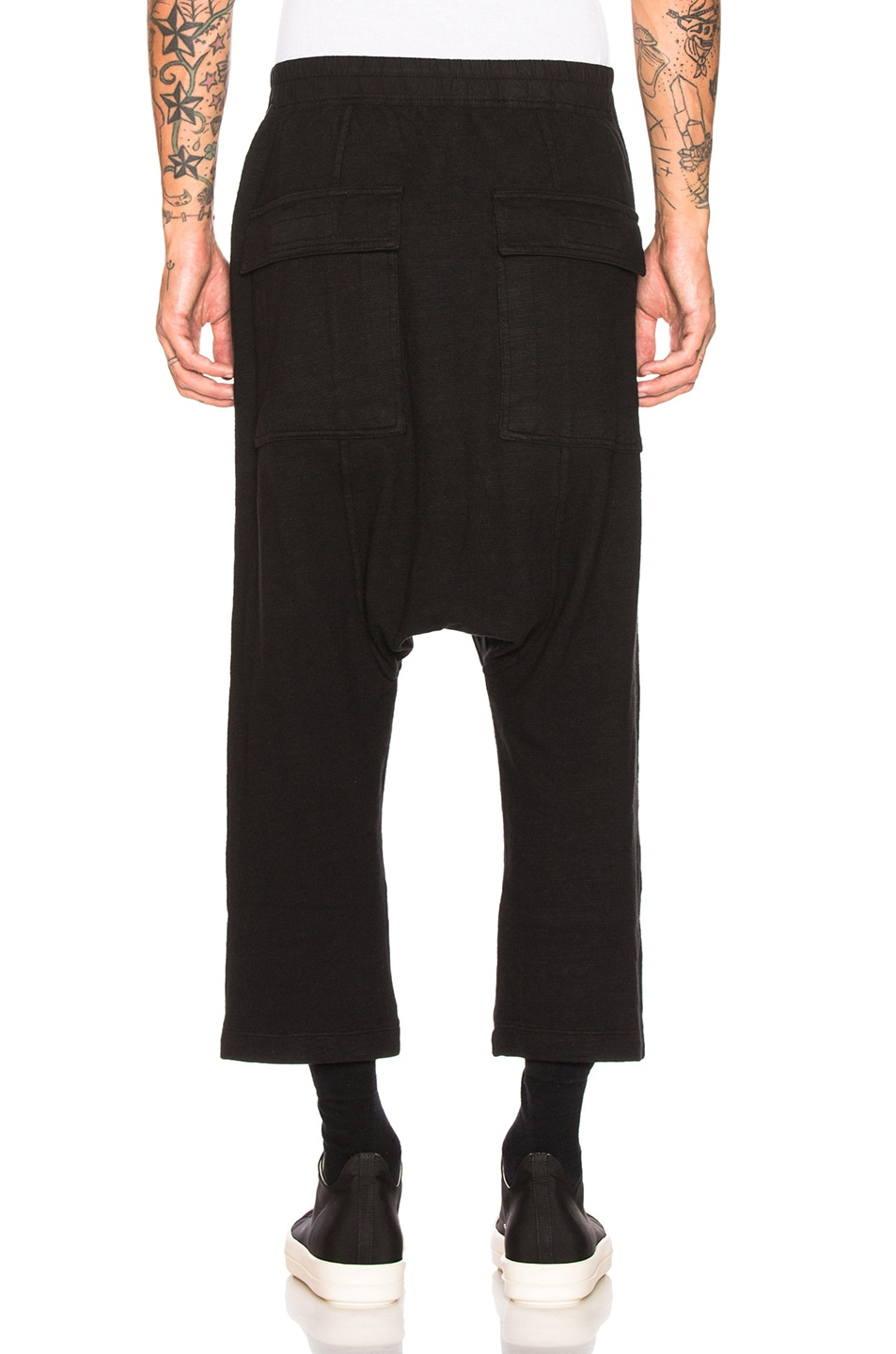 Image 3 of DRKSHDW by Rick Owens Drawstring Cropped Trouser in Black
