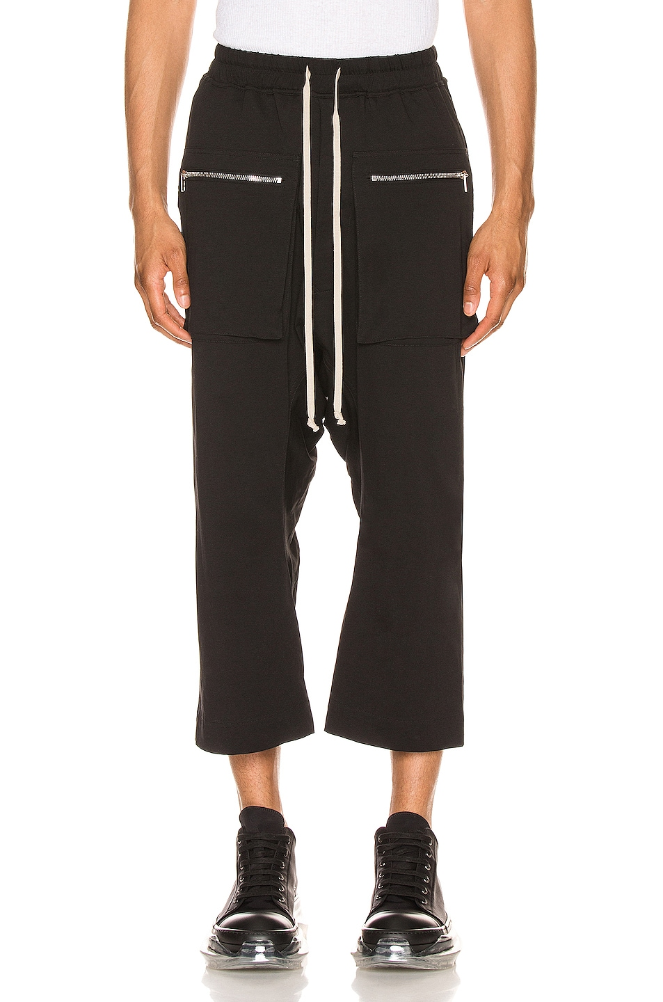 Image 1 of DRKSHDW by Rick Owens Cargo Drawstring Cropped Pant in Black
