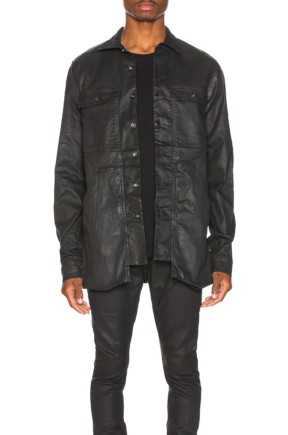 Image 1 of DRKSHDW by Rick Owens Cargo Pocket Shirt in Black Wax