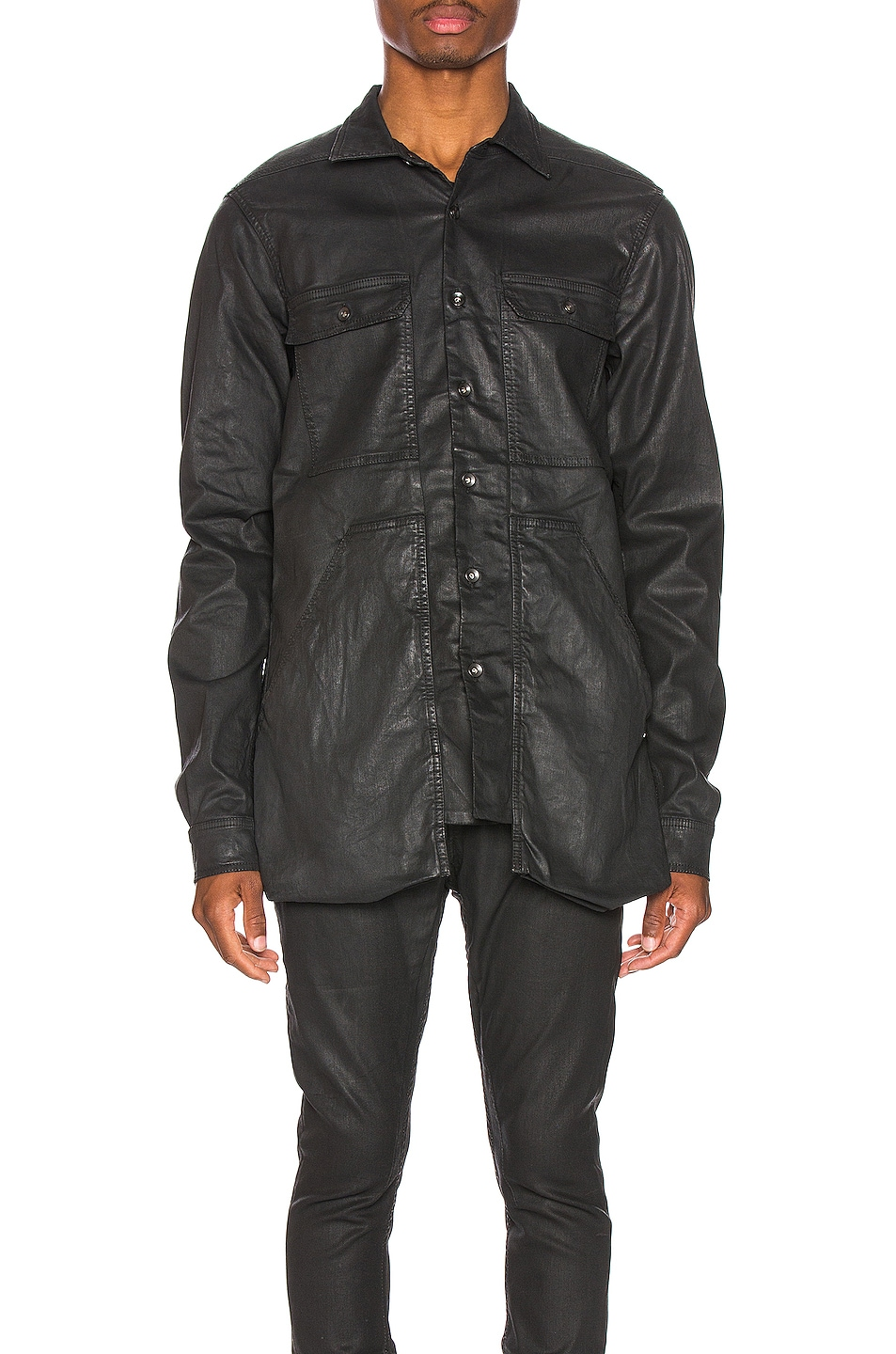 Image 2 of DRKSHDW by Rick Owens Cargo Pocket Shirt in Black Wax
