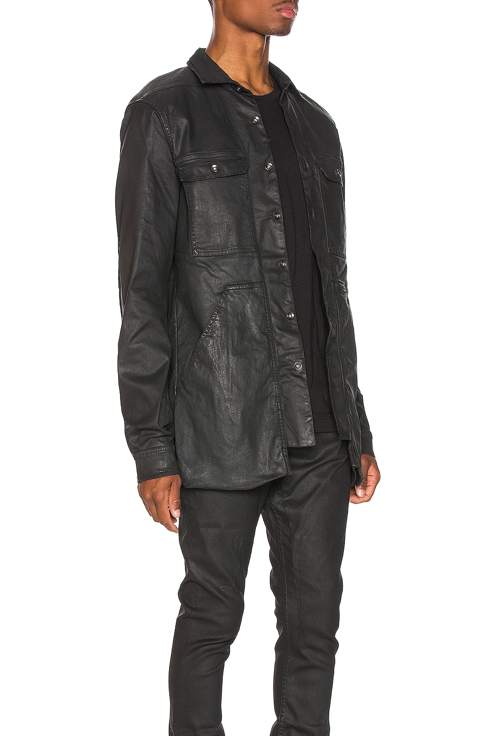 Image 3 of DRKSHDW by Rick Owens Cargo Pocket Shirt in Black Wax