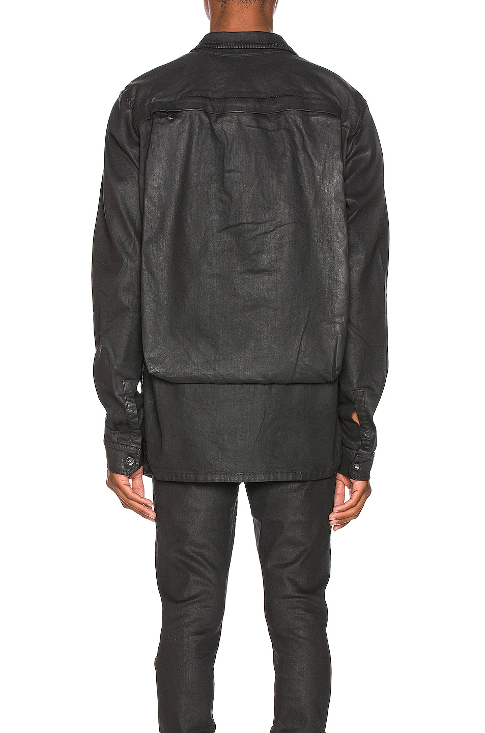 Image 4 of DRKSHDW by Rick Owens Cargo Pocket Shirt in Black Wax