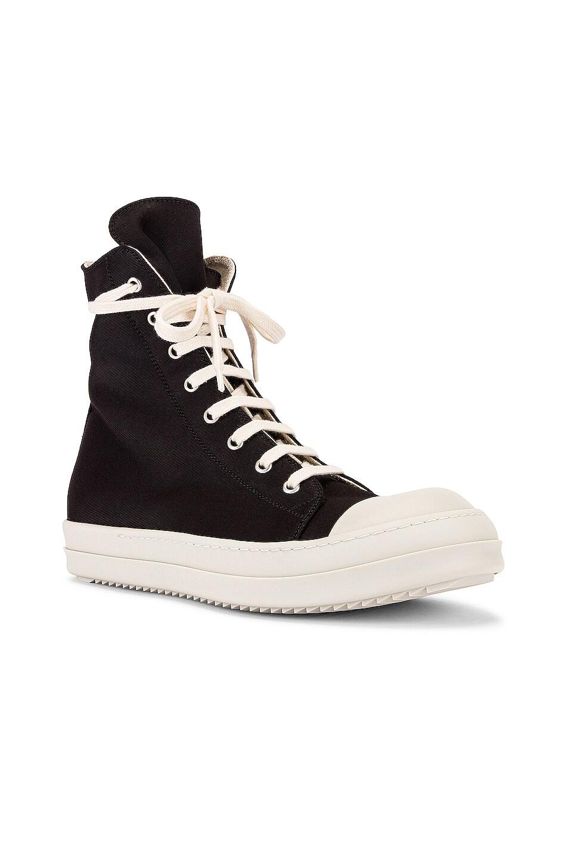 Image 1 of DRKSHDW by Rick Owens Canvas Sneakers in Black & Milk