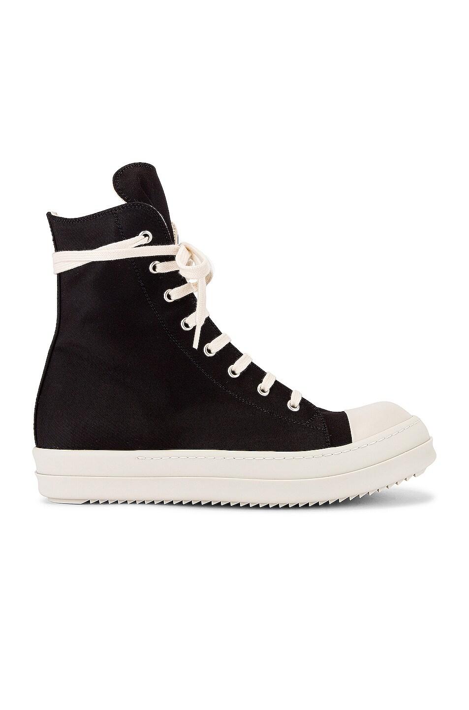 Image 2 of DRKSHDW by Rick Owens Canvas Sneakers in Black & Milk