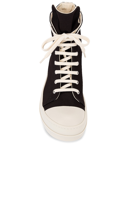 Image 4 of DRKSHDW by Rick Owens Canvas Sneakers in Black & Milk