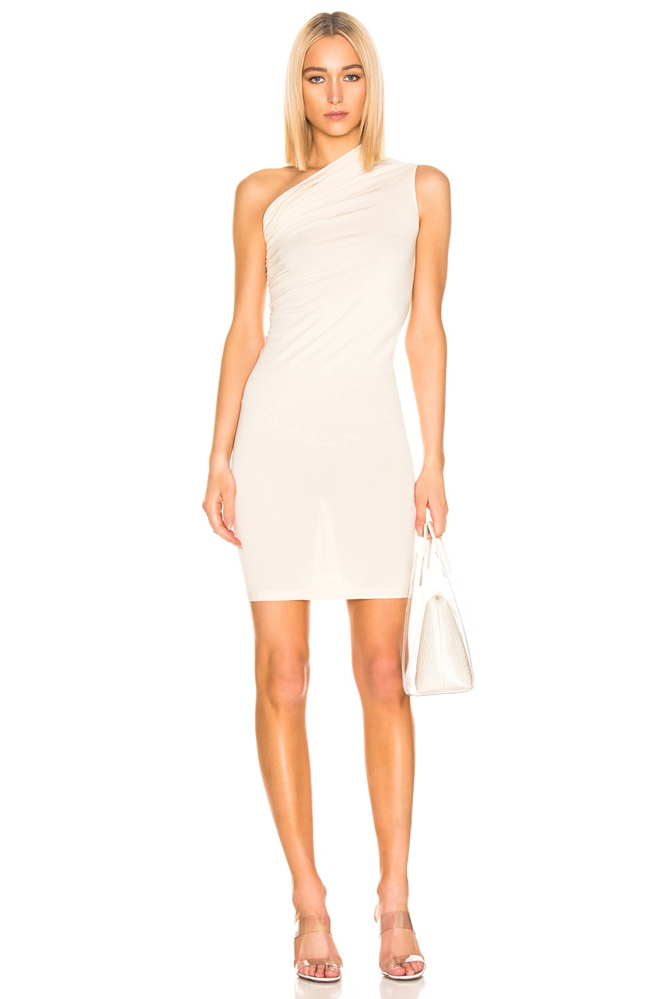 Image 1 of DRKSHDW by Rick Owens One Shoulder Draped Dress in Natural