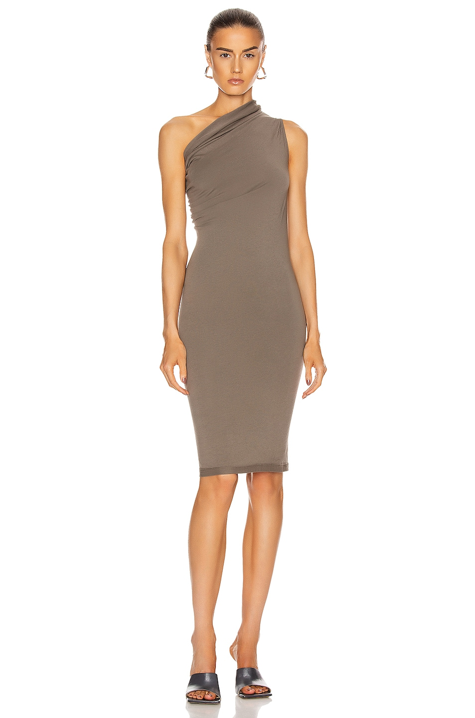 Image 1 of DRKSHDW by Rick Owens One Shoulder Tunic Dress in Dust