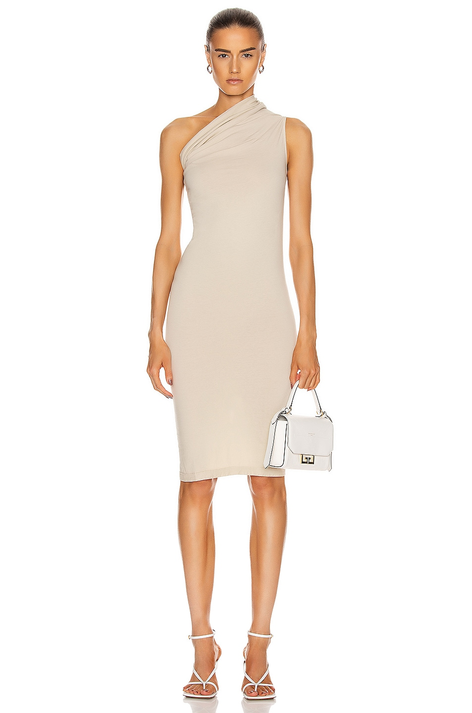Image 1 of DRKSHDW by Rick Owens One Shoulder Tunic Dress in Pearl
