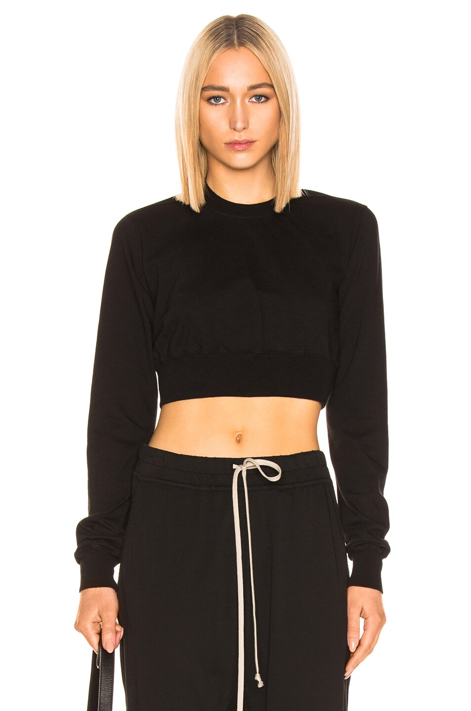 Image 1 of DRKSHDW by Rick Owens Cropped Crewneck Sweater in Black
