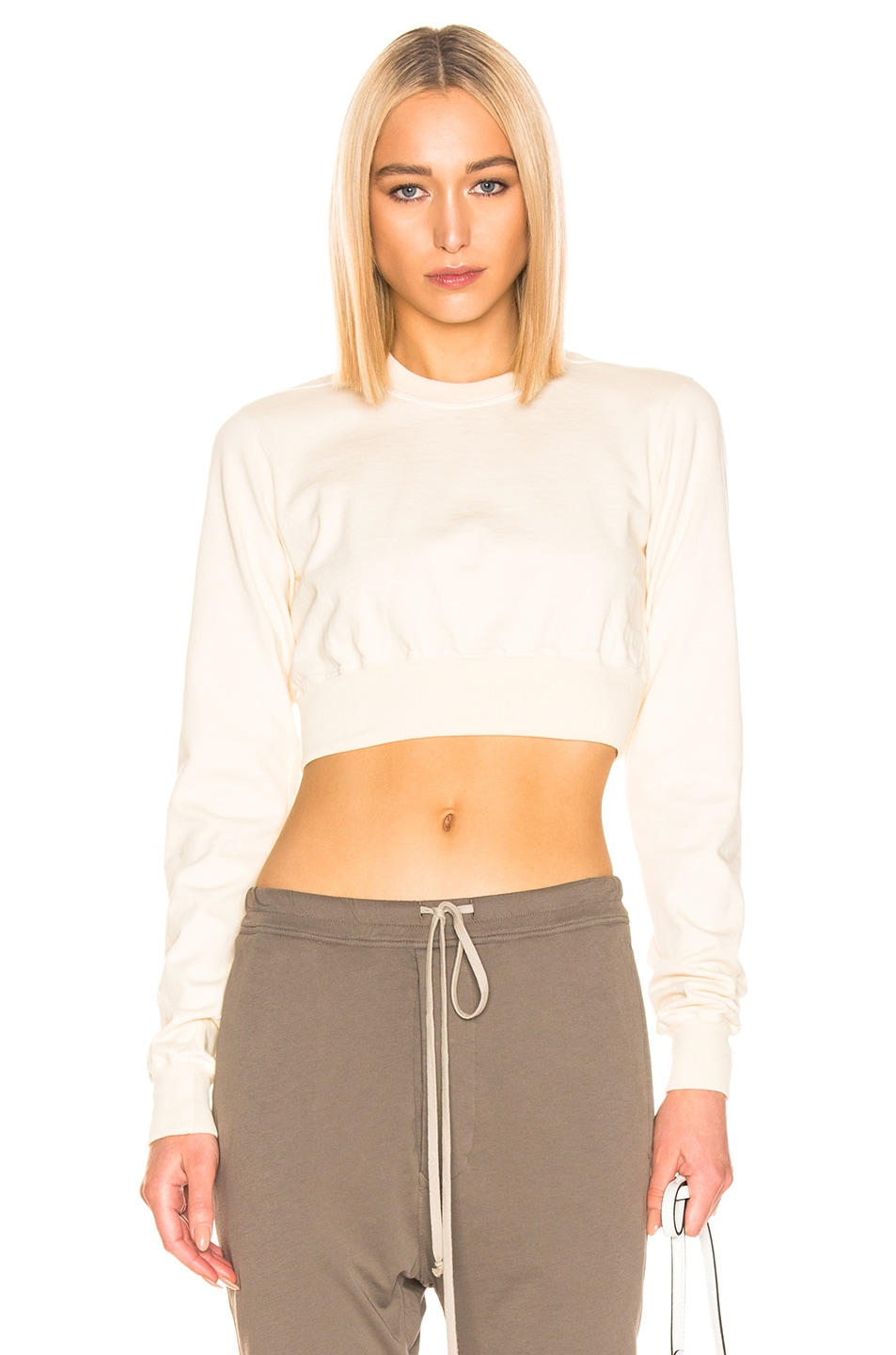 Image 1 of DRKSHDW by Rick Owens Cropped Crewneck Sweater in Natural