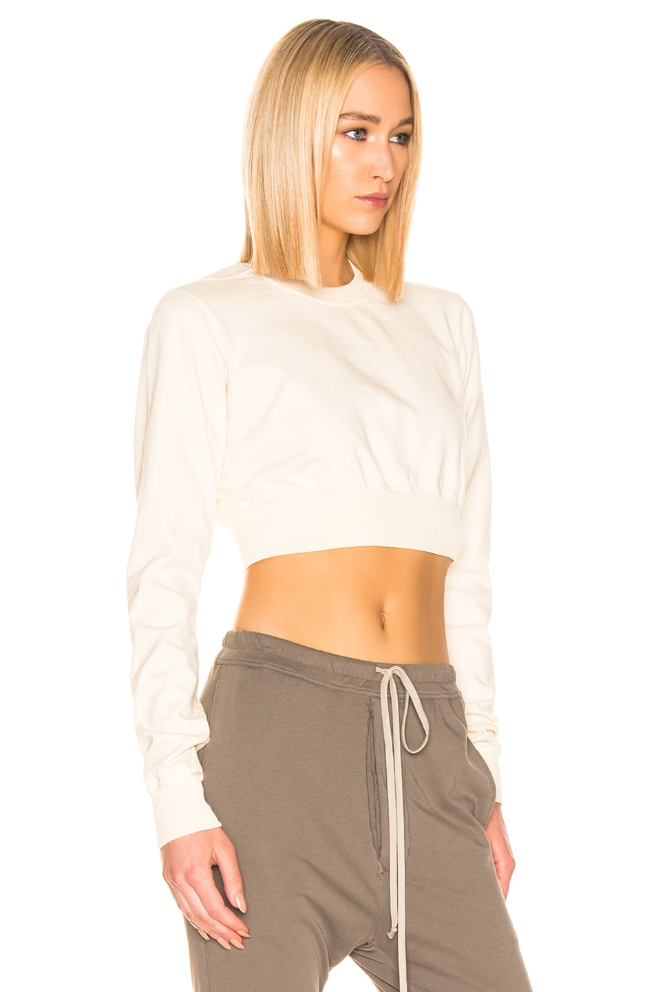 Image 2 of DRKSHDW by Rick Owens Cropped Crewneck Sweater in Natural