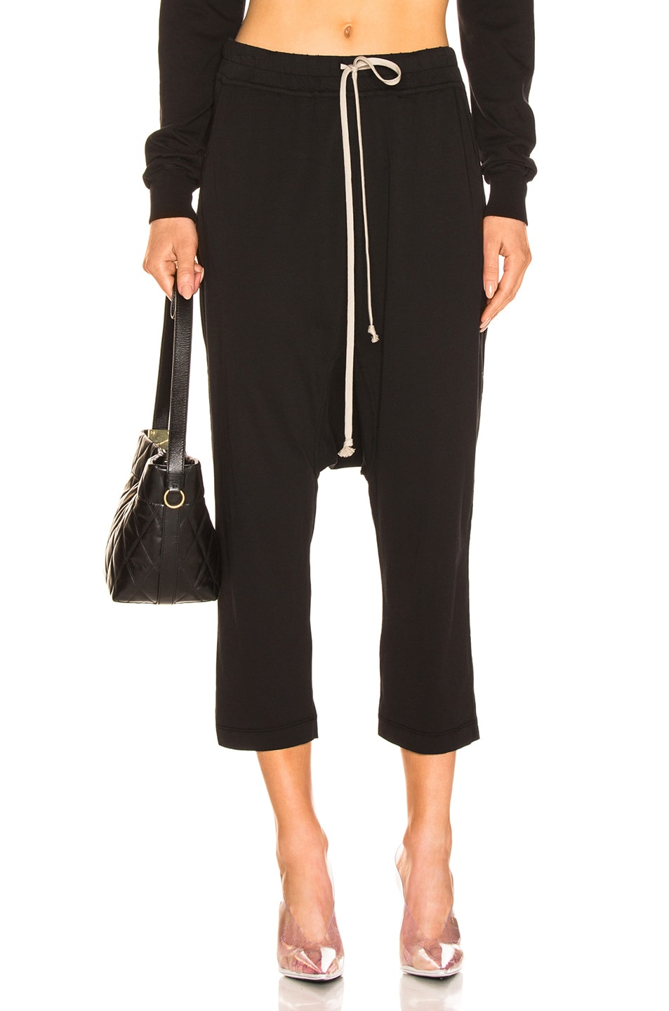 Image 1 of DRKSHDW by Rick Owens Drawstring Cropped Pant in Black