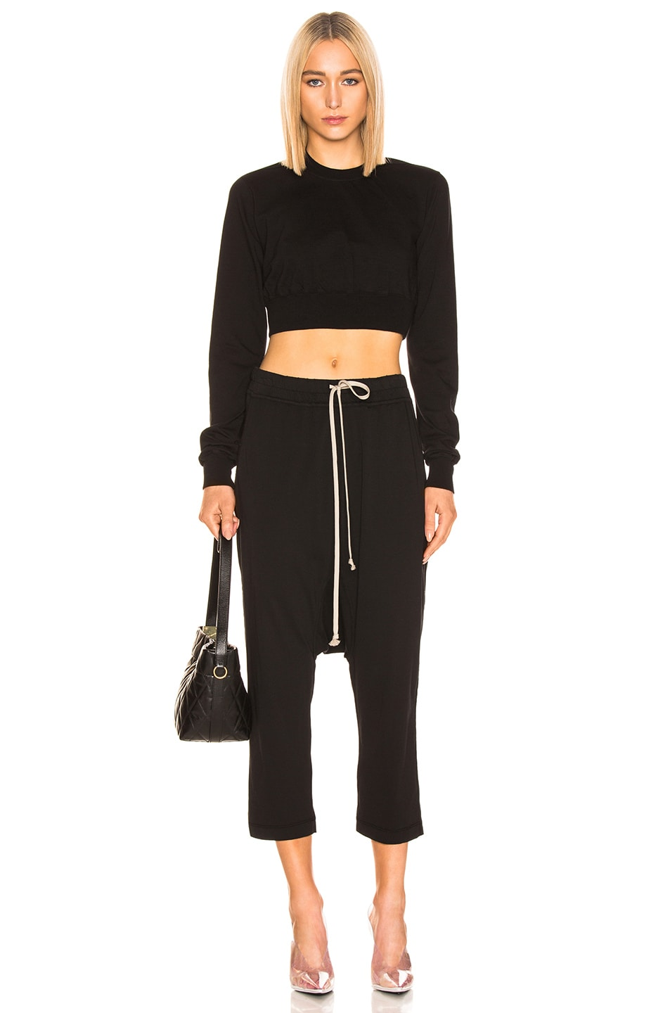 Image 4 of DRKSHDW by Rick Owens Drawstring Cropped Pant in Black