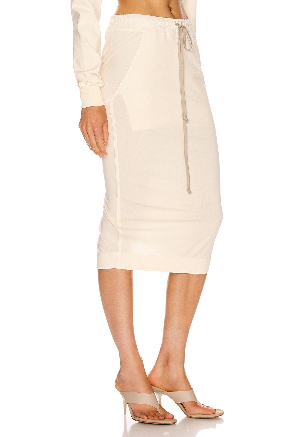 Image 2 of DRKSHDW by Rick Owens Soft Pillar Short Skirt in Natural