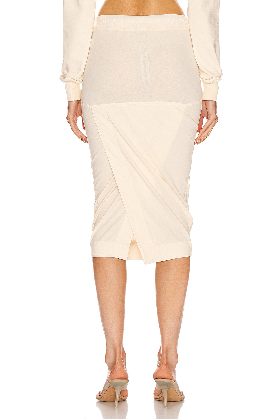 Image 3 of DRKSHDW by Rick Owens Soft Pillar Short Skirt in Natural