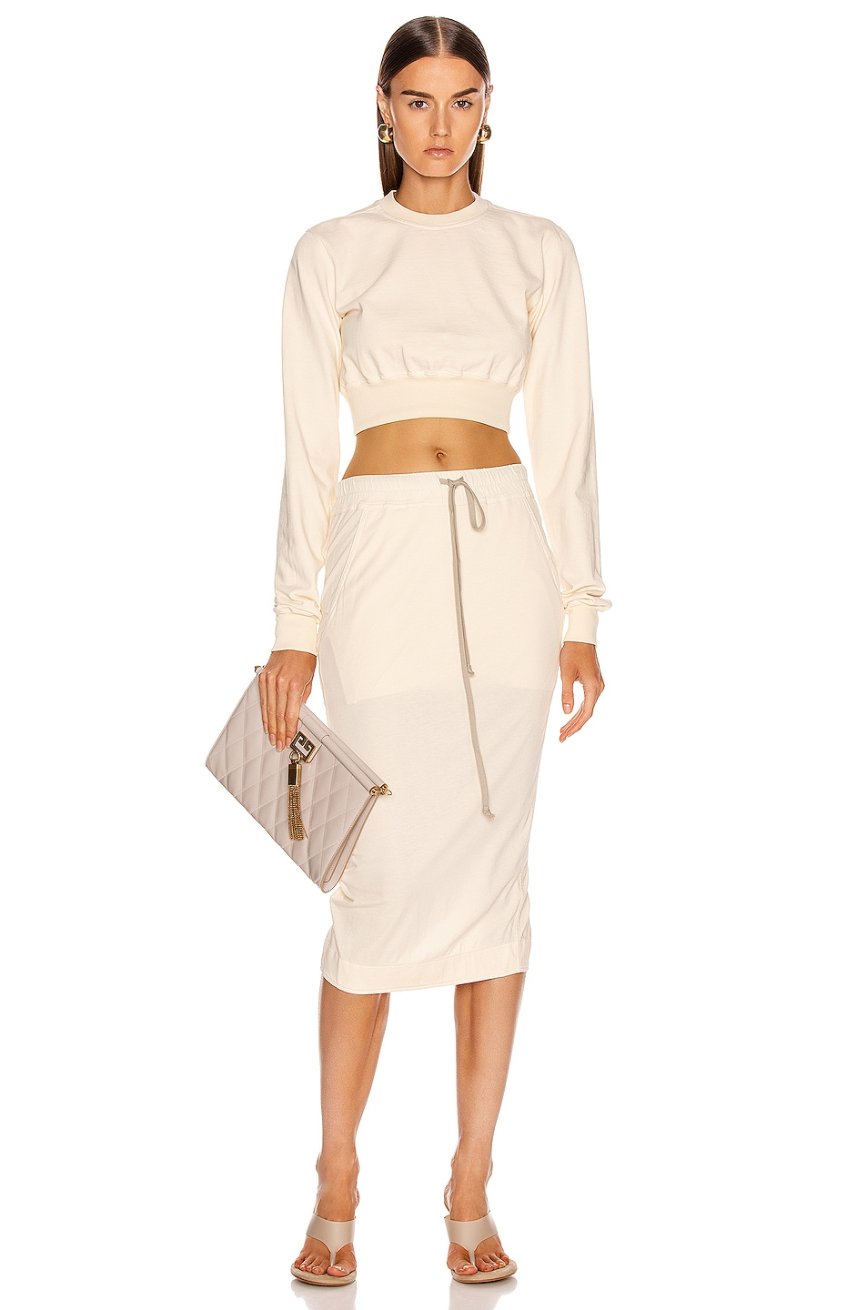 Image 4 of DRKSHDW by Rick Owens Soft Pillar Short Skirt in Natural