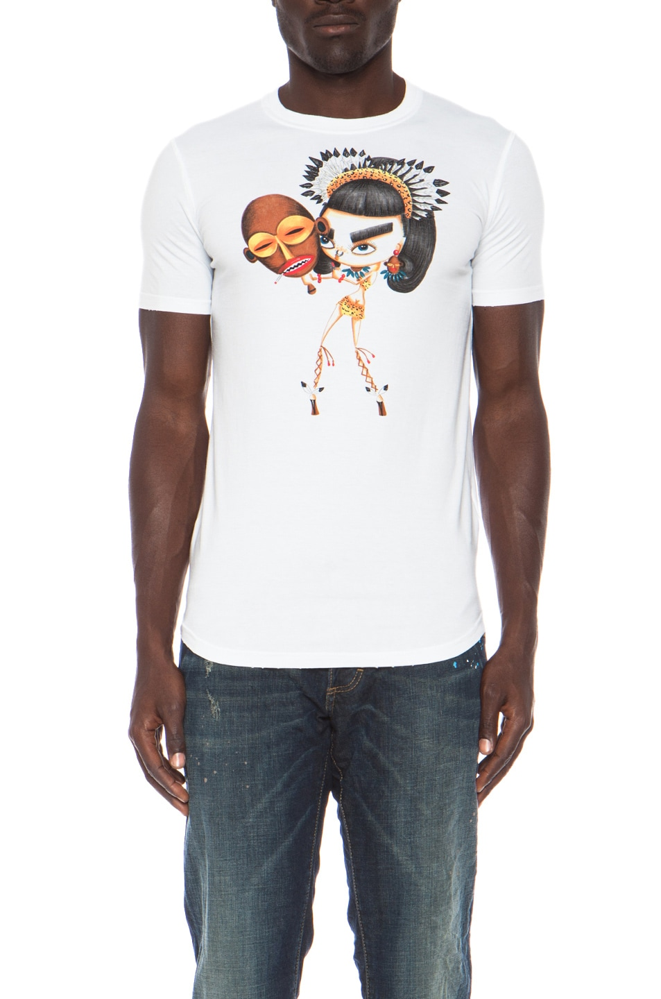 Image 1 of DSQUARED Mask Cotton Tee in White f43605d9657ba