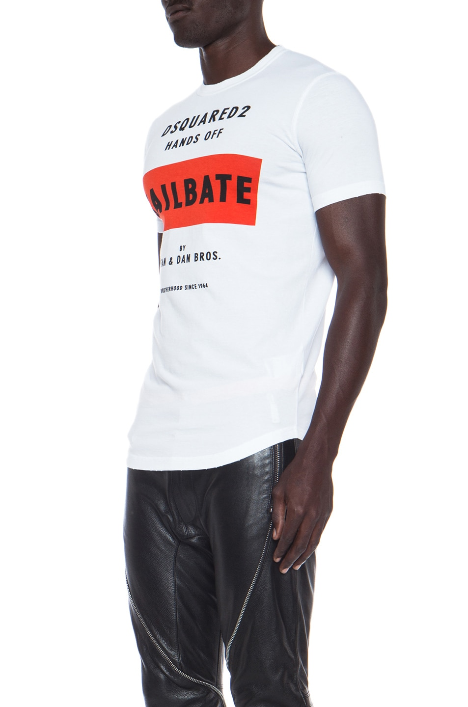 Image 2 of DSQUARED Jailbate Cotton Tee in White 7da4d2f3b