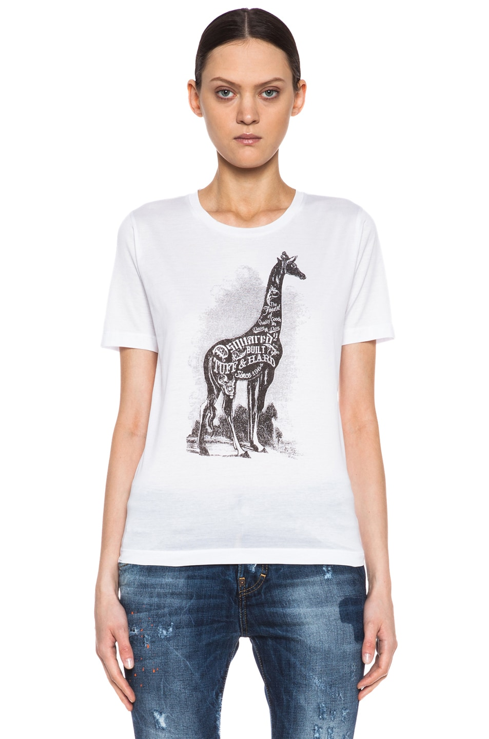 Image 1 of DSQUARED Giraffe Graphic Cotton Tee in White