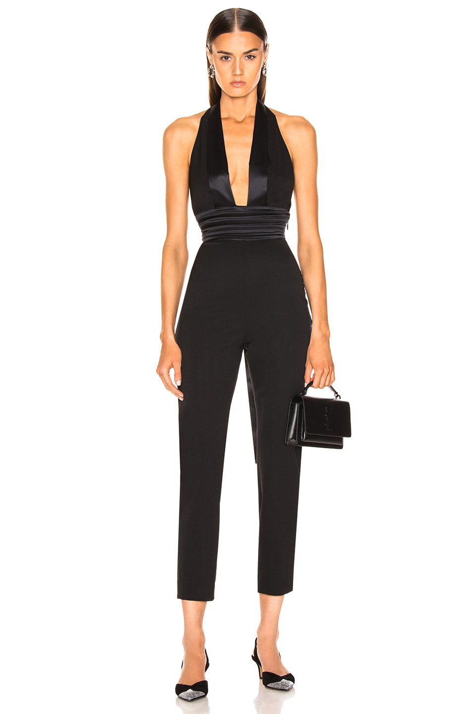 Image 1 of Dundas Plunging Jumpsuit in Black