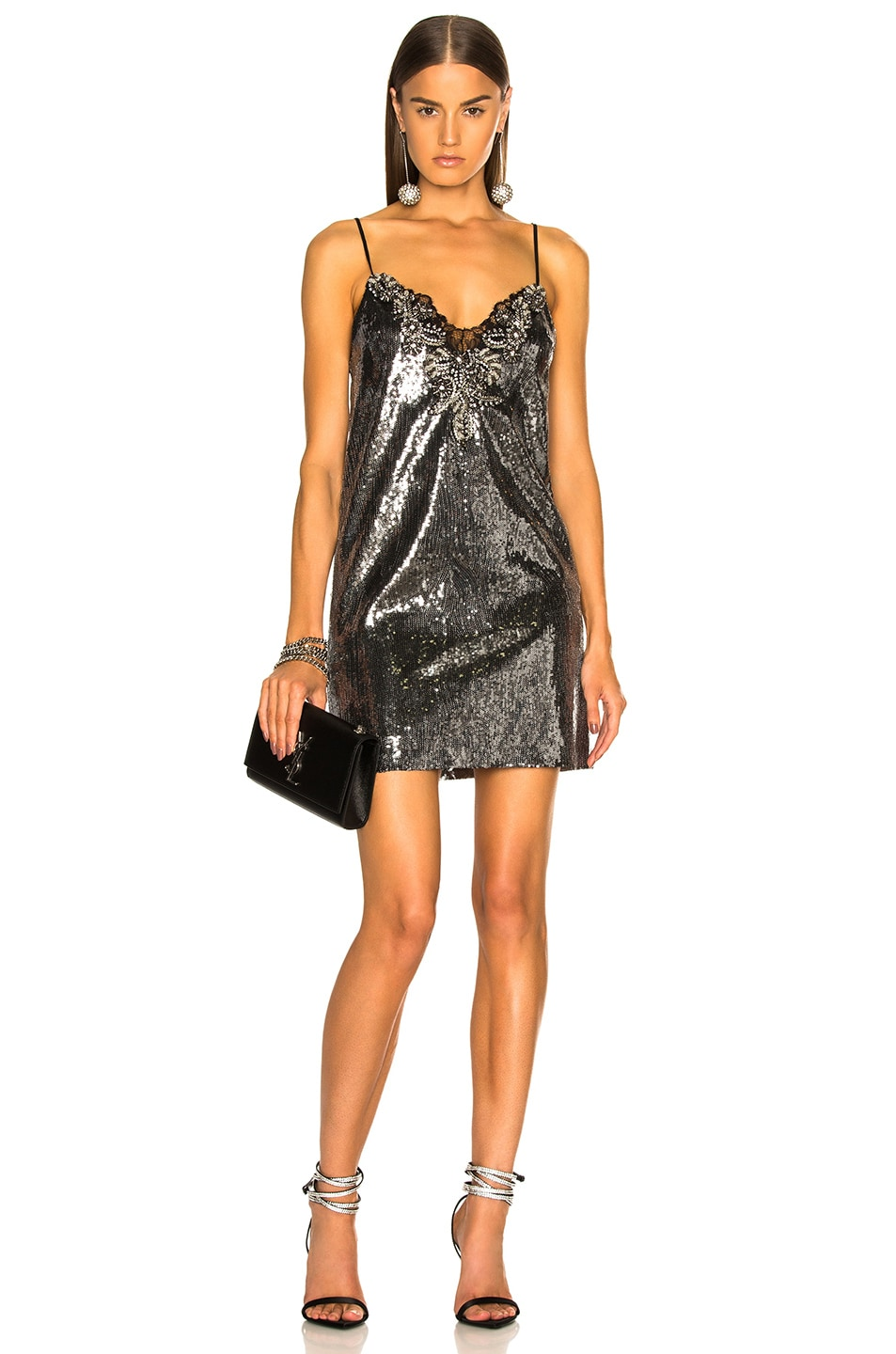 Image 1 of Dundas Sequin Embroidered Slip Dress in Gunmetal