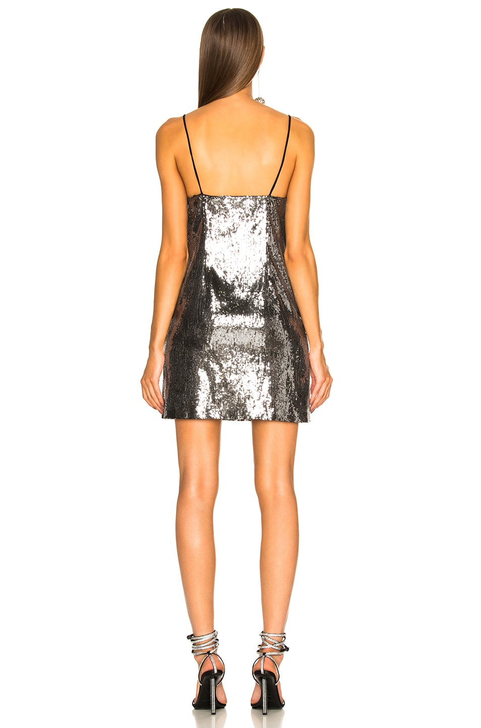 Image 3 of Dundas Sequin Embroidered Slip Dress in Gunmetal