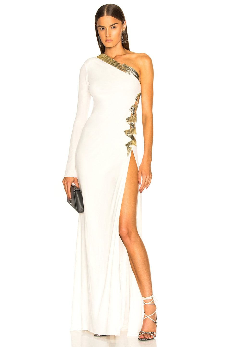 3d5d918bac Image 1 of Dundas One Shoulder Viscose Jersey Embroidered Gown in White