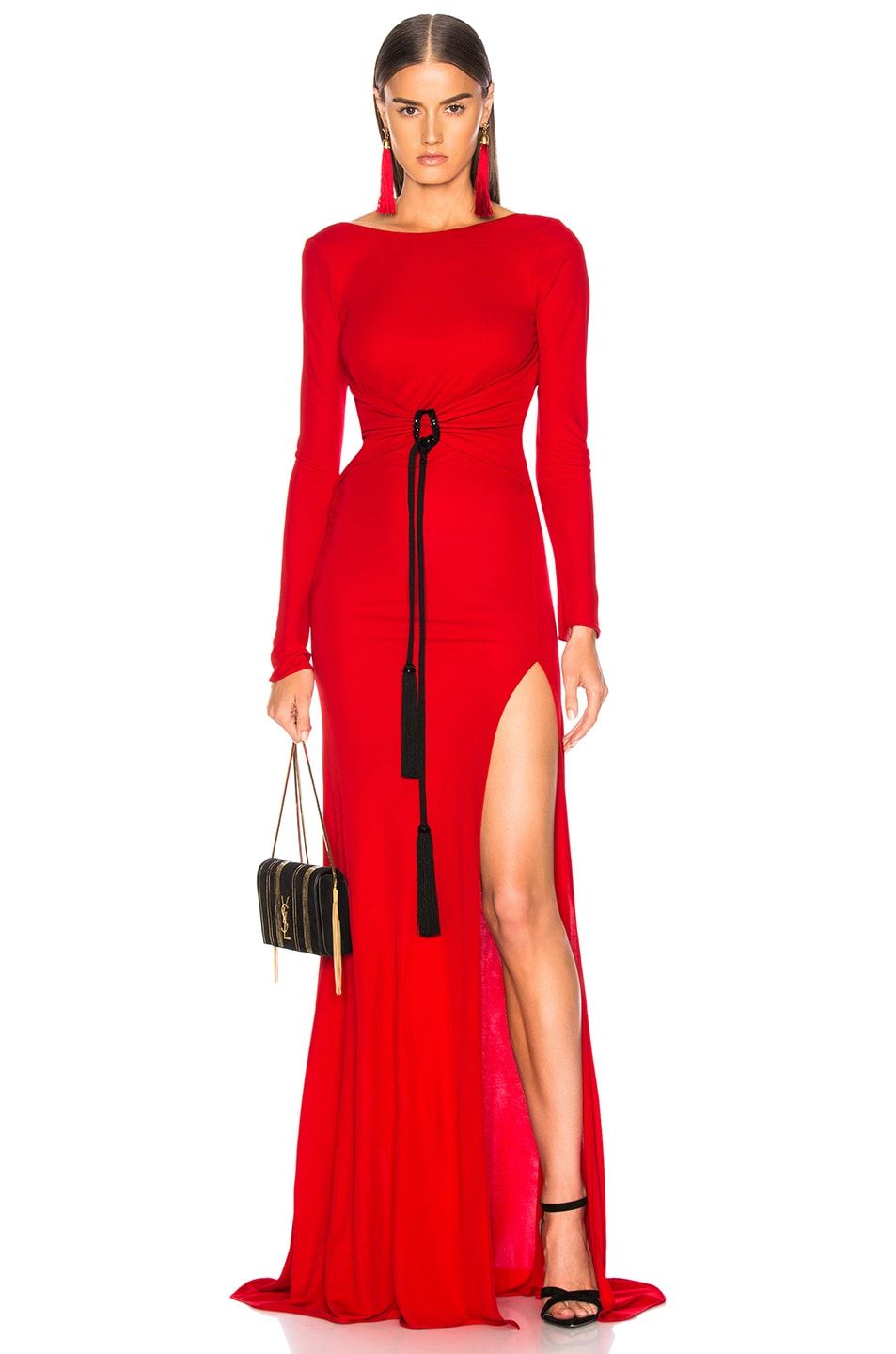 Image 1 of Dundas Open Back Viscose Jersey Gown in Red