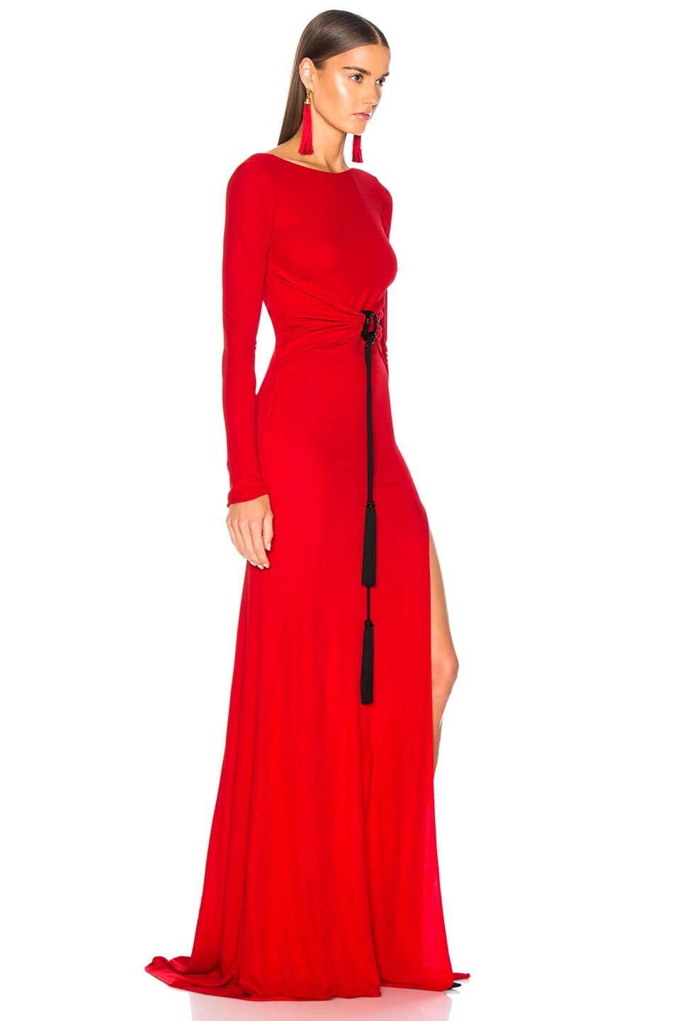 Image 2 of Dundas Open Back Viscose Jersey Gown in Red