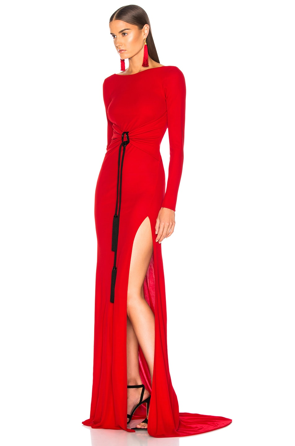 Image 3 of Dundas Open Back Viscose Jersey Gown in Red
