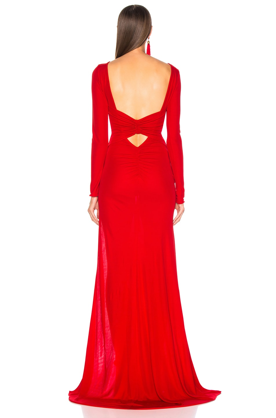 Image 4 of Dundas Open Back Viscose Jersey Gown in Red