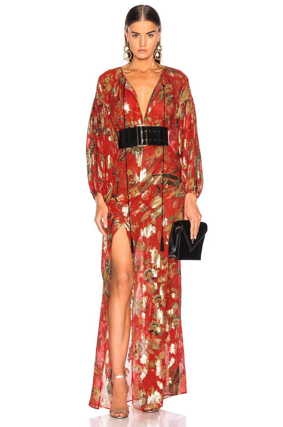 Image 1 of Dundas Blanket Fil Coupe Tiered Gown in Red & Gold