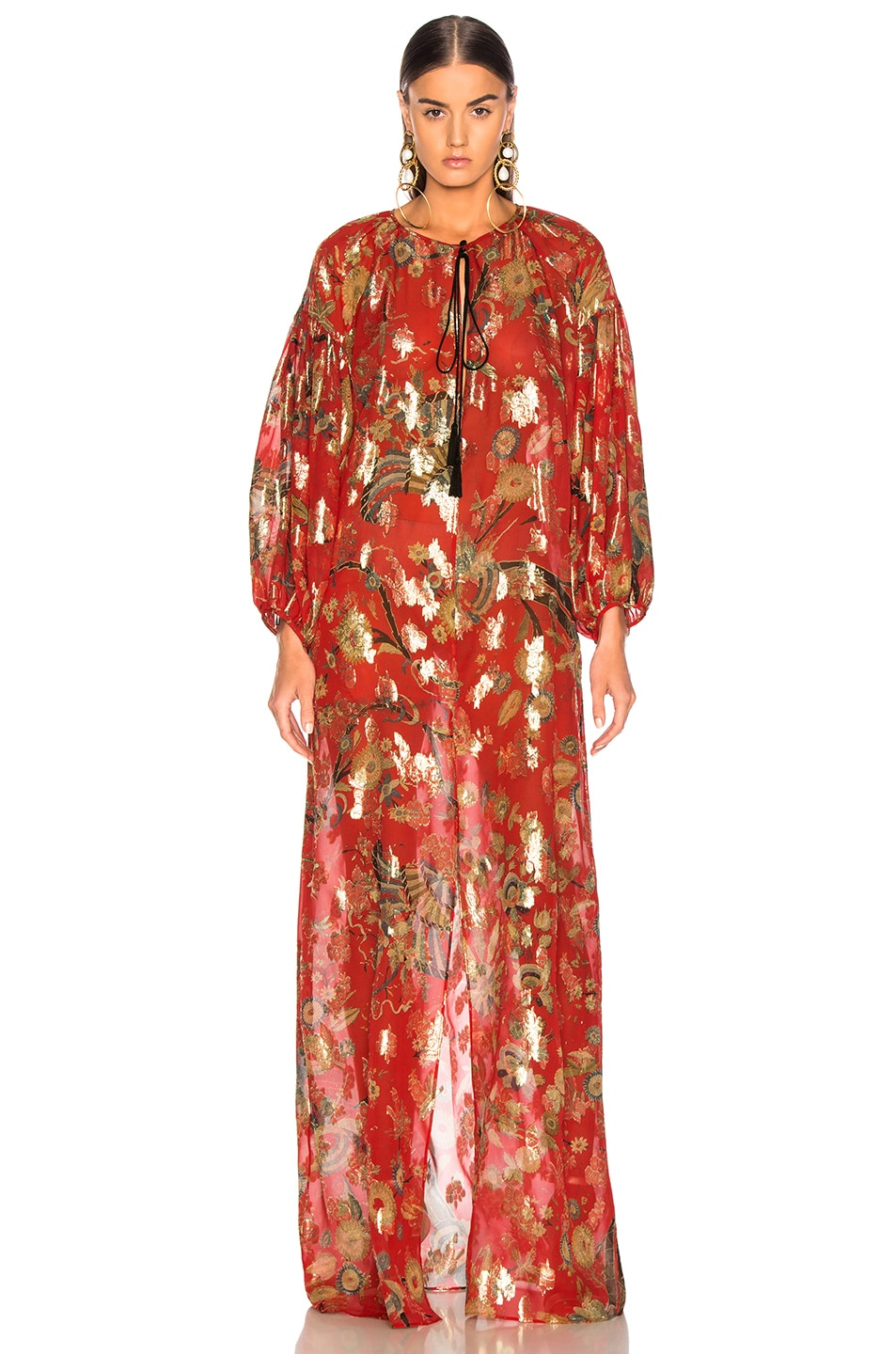 Image 2 of Dundas Blanket Fil Coupe Tiered Gown in Red & Gold