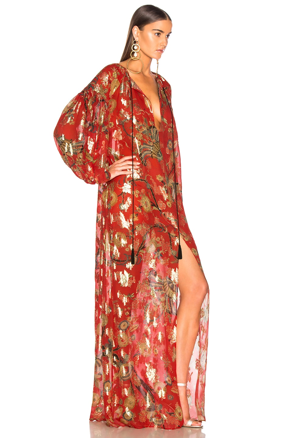 Image 3 of Dundas Blanket Fil Coupe Tiered Gown in Red & Gold