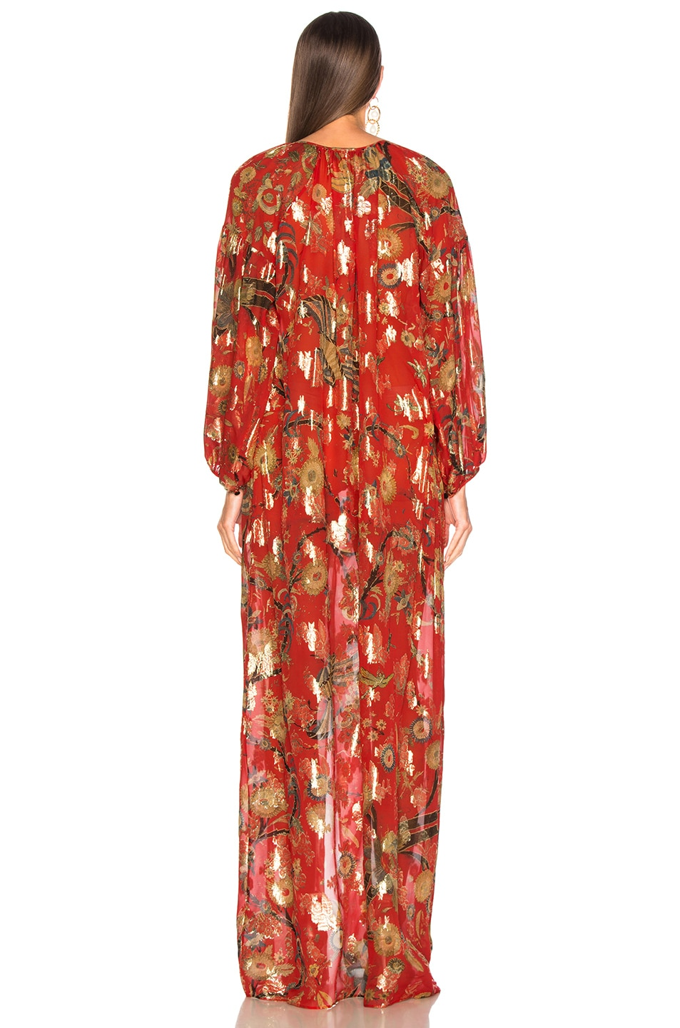 Image 4 of Dundas Blanket Fil Coupe Tiered Gown in Red & Gold