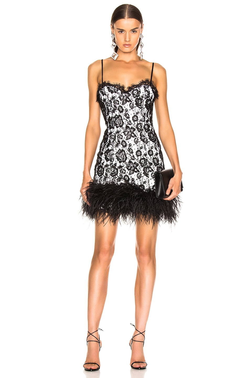 Image 2 of Dundas Ostrich Trim Embroidered Lace Slip Dress in Black