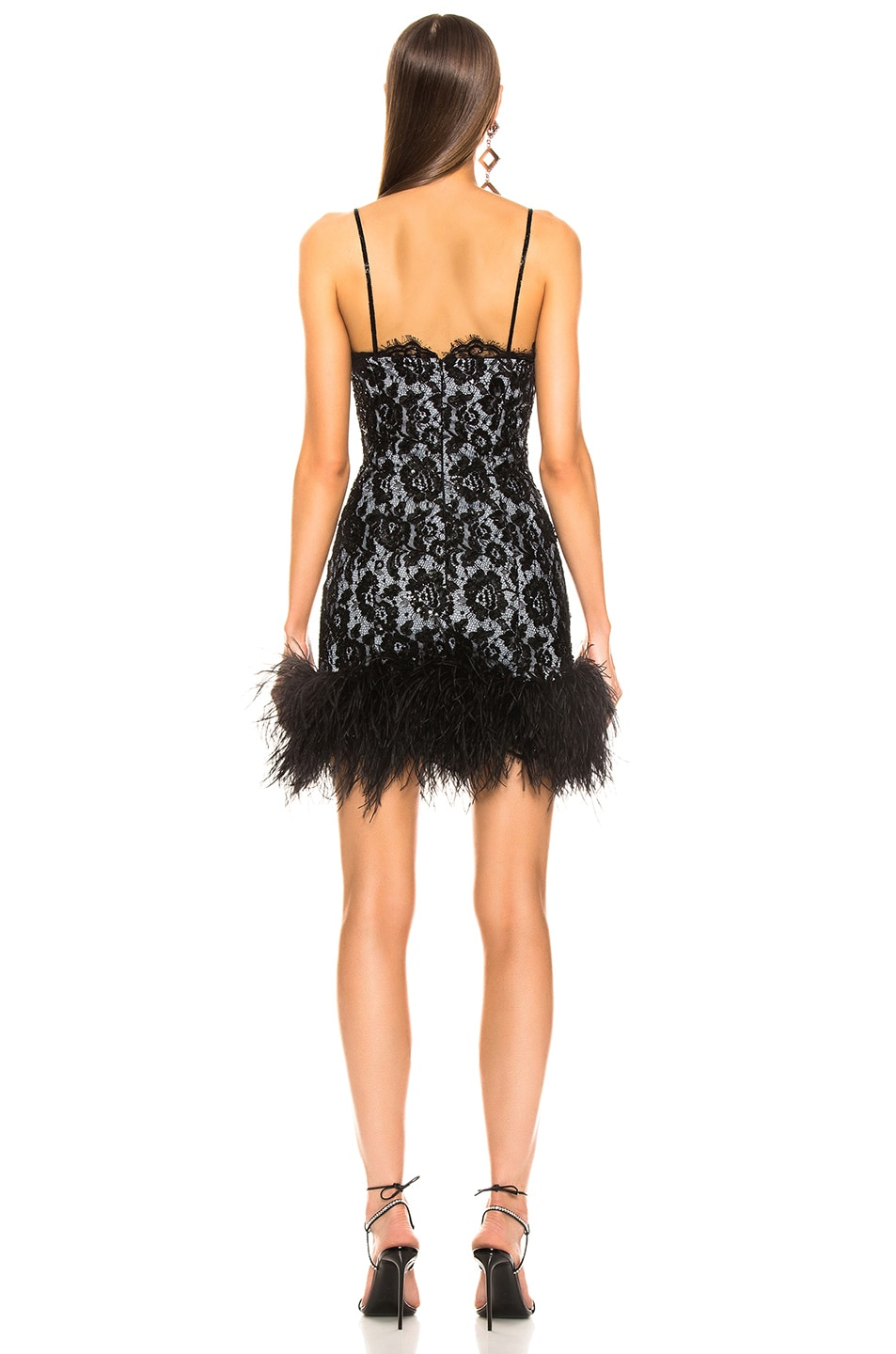 Image 4 of Dundas Ostrich Trim Embroidered Lace Slip Dress in Black